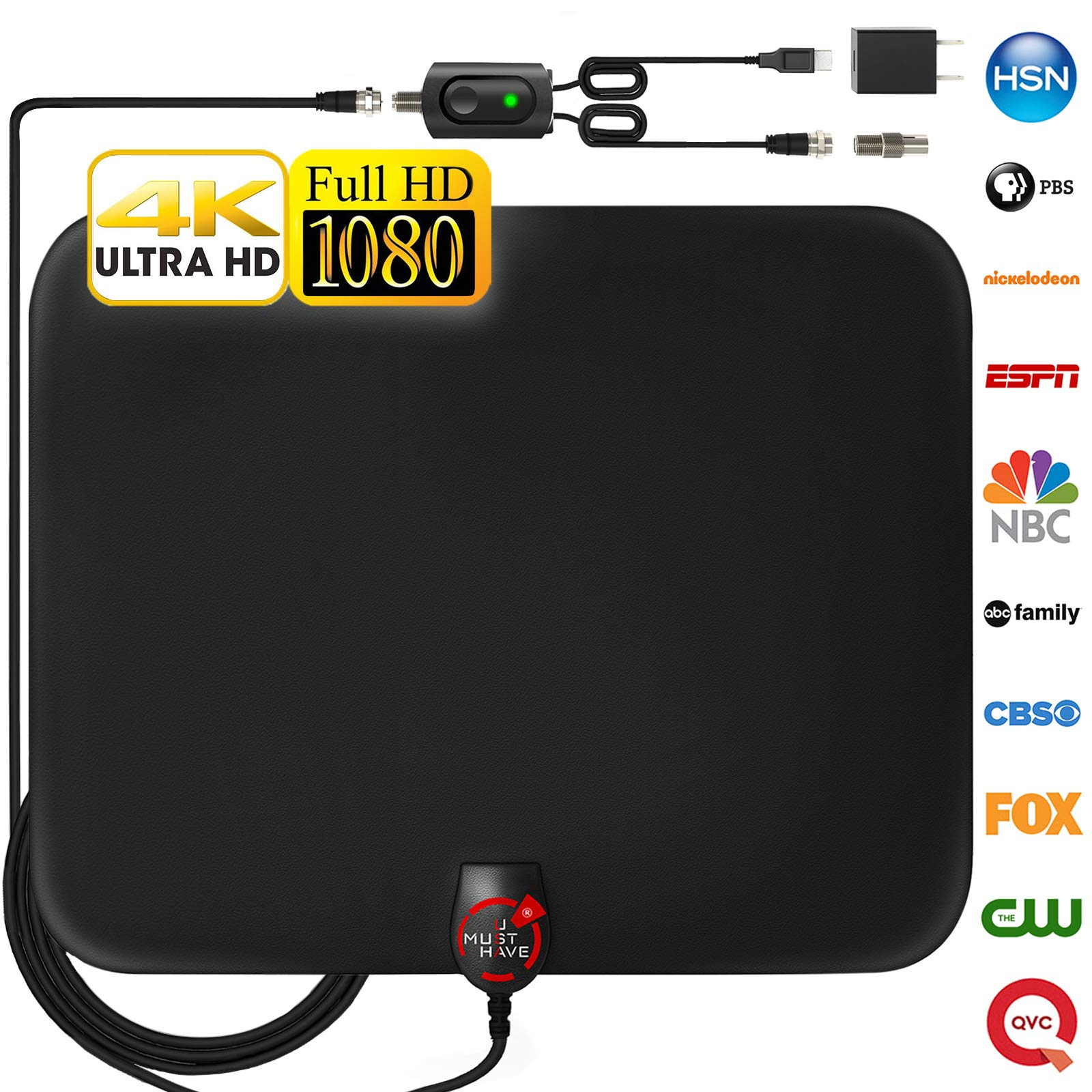 [2018 Newest] Amplified HD Digital TV Antenna Long 85 Miles Range – Support 4K 1080p & All Older TV's Indoor Powerful HDTV Amplifier Signal Booster - 18ft Coax Cable/Power Adapter by U Must Have