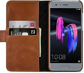 StilGut Talis Case con Tasca per Carte, Custodia in Pelle Cover per Huawei Honor 9. Chiusura a Libro Flip-Case in Vera Pelle Fatta a Mano, pratiche Tasche per Carte di Credito, Nero