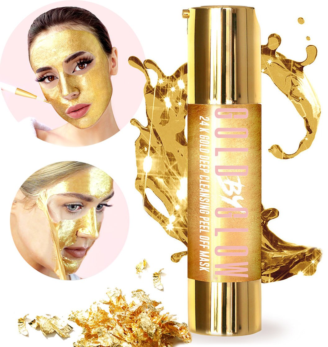 24K Gold Deep Cleansing Peel Off Face Mask Collagen Hyaluronic Acid Vitamin C E Treats Blackheads Pores Acne Cleanser Replenishing Soothing Moisturising Glowing Facial Treatment 50 ml | GOLD BY GLOW