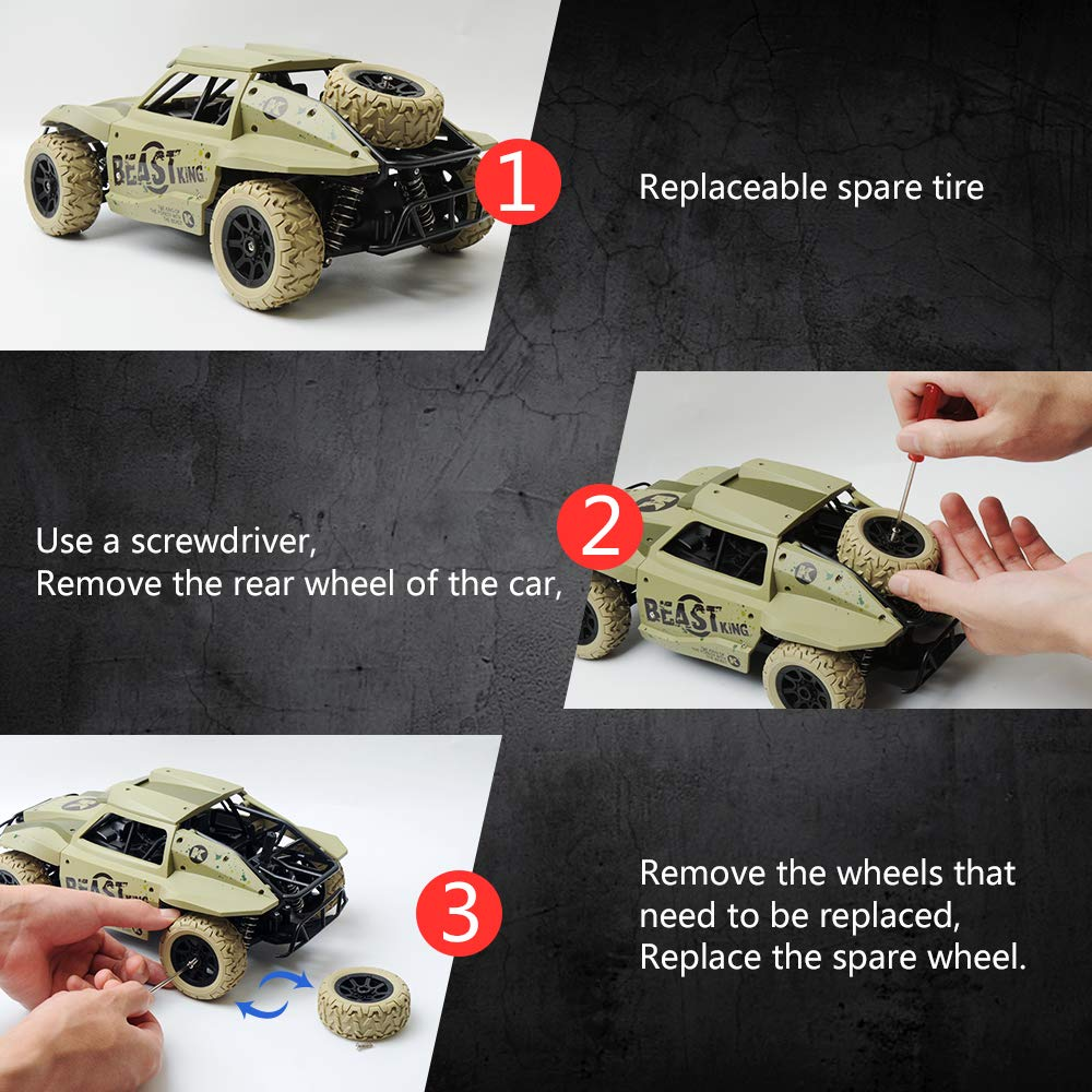 Gizmovine Remote Control Cars 4WD Large Size High Speed 15.5 MPH+ Racing Rc Cars Off Road for Kids and Adults , 2019 Version (Khaki) by Gizmovine (Image #3)