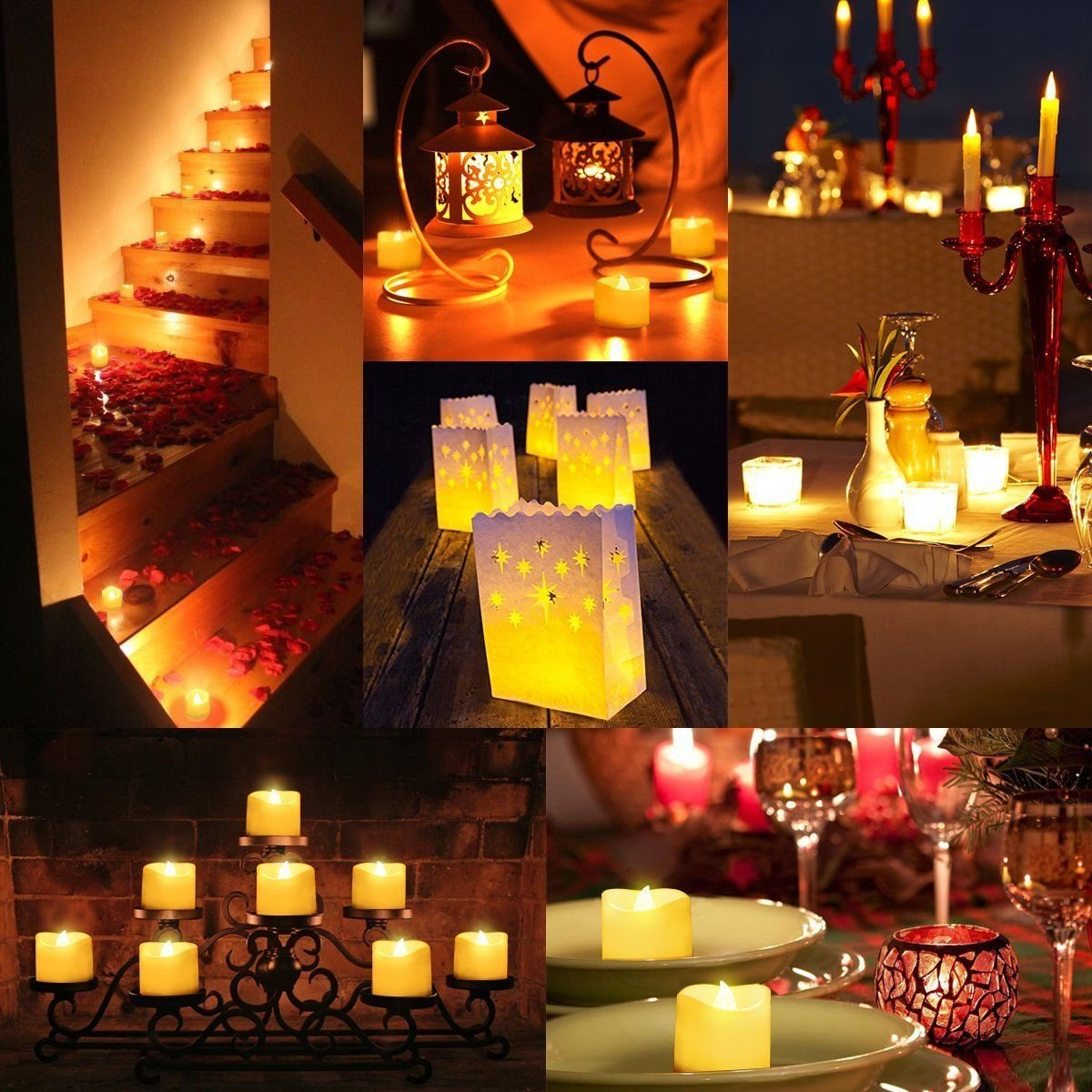 Kohree Flameless Candles Light LED Candles with Built-in Daily-Cycle Timer, Outdoor Battery Operated Led Real Wax Candles Light, Pillar Candle, Warm White Pack of 12 by Kohree (Image #4)