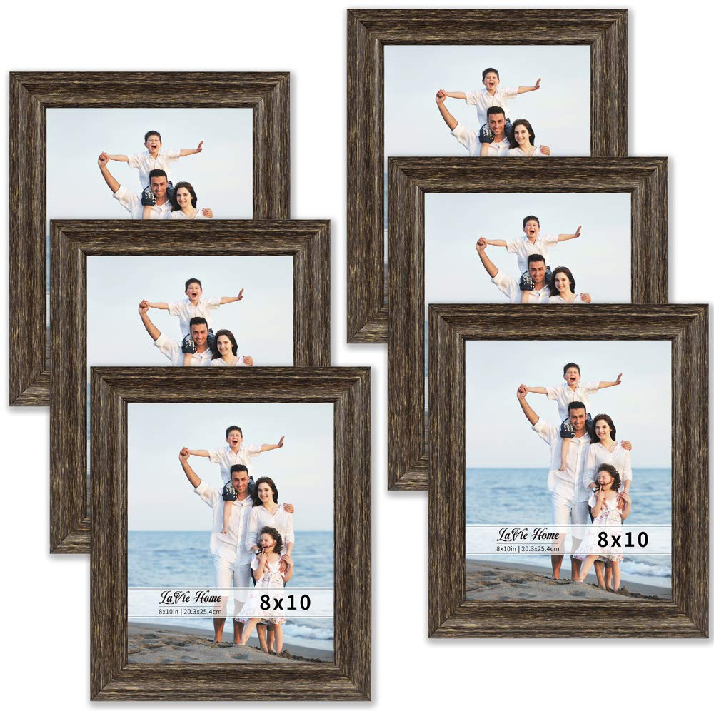 LaVie Home 8x10 Picture Frames (6 Pack, Brown Wood Grain) Rustic Photo Frame Set with High Definition Glass for Wall Mount & Table Top Display by LaVie Home