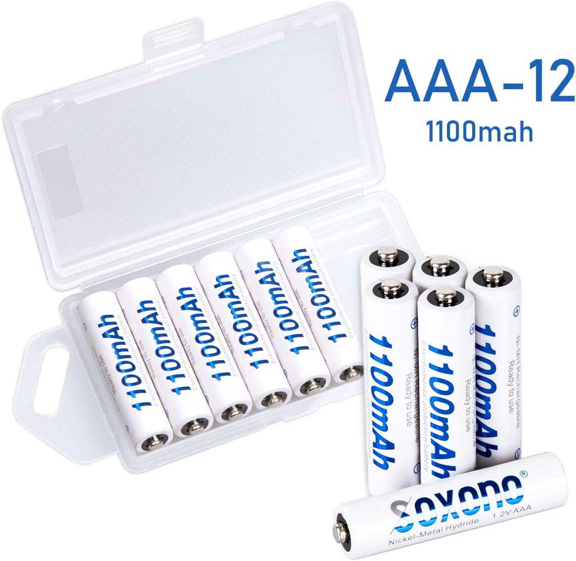 AAA Rechargeable Batteries, Soxono 12 Pack Rechargeable Triple A Batteries 1100mAh High Capacity 1.2V NiMH Low Self Discharge
