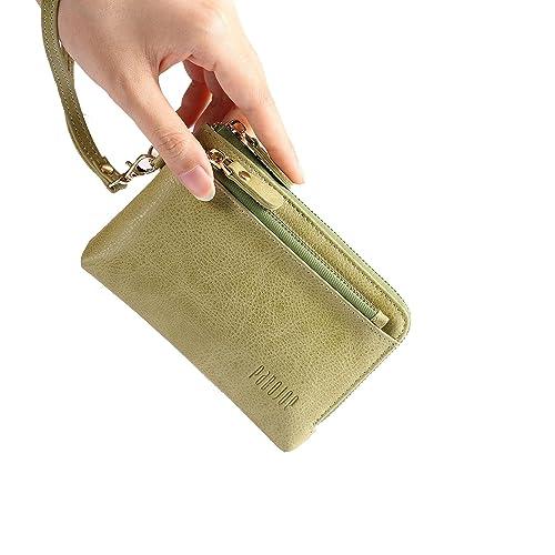 Ladies Women Purse Clutch Wallets Soft Small Handbag with Wristlet Green  Leather Wallet 672f4b4073