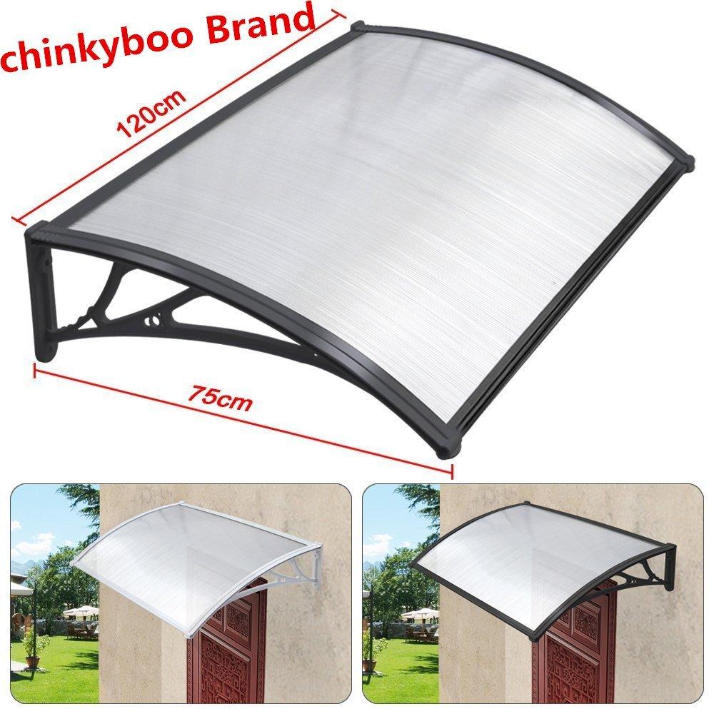 chinkyboo Easy Fit Door Canopy 120 x 75cm Outdoor Garden Door Canopy Door Window Awning Patio Cover Protects from Sun, Rain, Sleet or Snow! (1, Black)