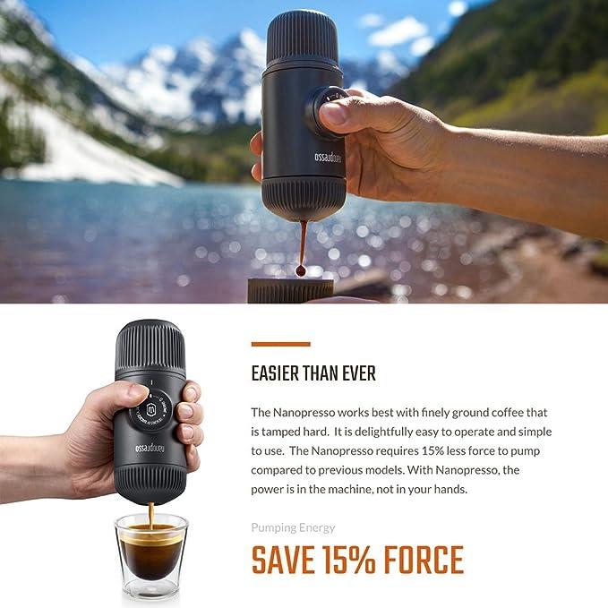 Wacaco Nanopresso Portátil Espresso Maker, Versión mejorada de Minipresso, 18 Presión de barra, cafetera de viaje extra pequeña, operada manualmente, ...