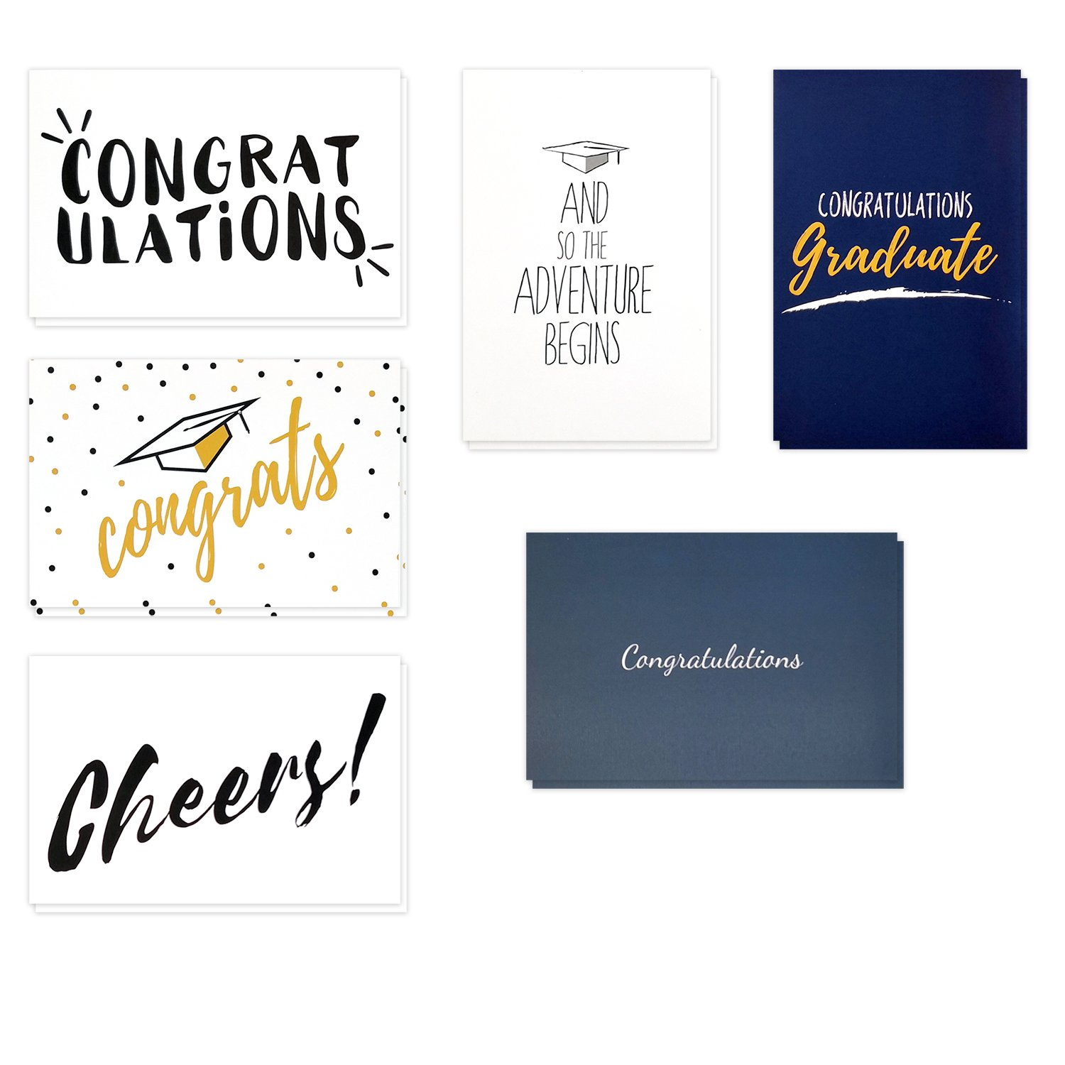 Graduation Cards, College and High School Graduation Cards, Graduation Cards 36 Pack, Congratulations Cards Bulk Graduation Cards, Blank Graduation Cards - Envelopes Included, 4x6 Inches Each