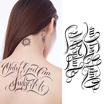 Yeeech Temporary Tattoos for Women Black Waterproof Letter Words Only God Can Judge Me: Amazon.ca: Beauty