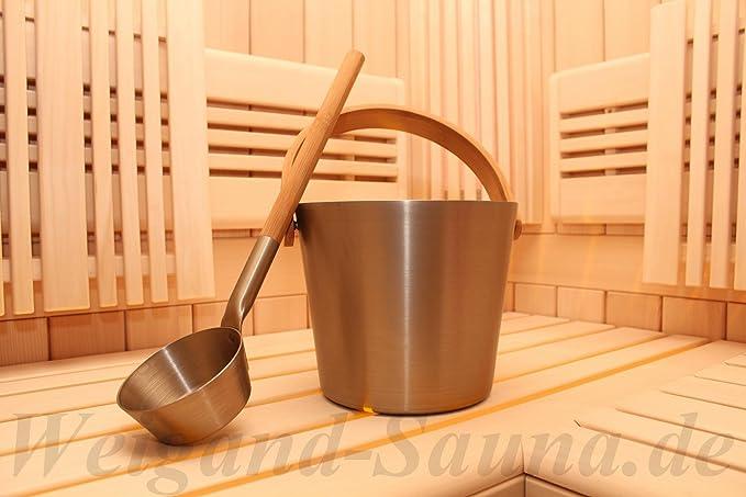 aluminium // bambou /écologique-r/ésistante /à la chaleur 5 litre 225702 Seau de sauna couleur champagne Rento