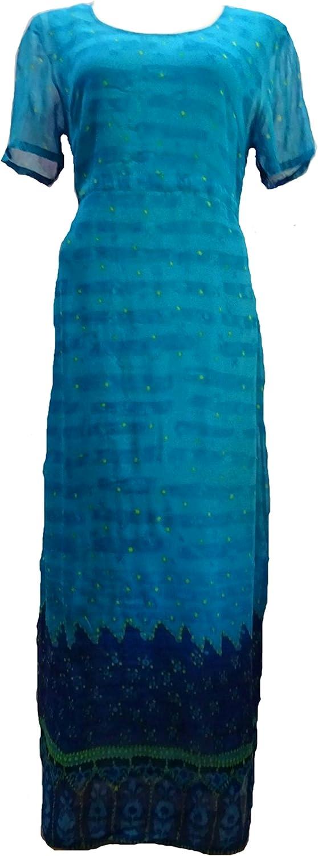 Sacred Threads Georgette Blue Lined Summer Dress /S//M