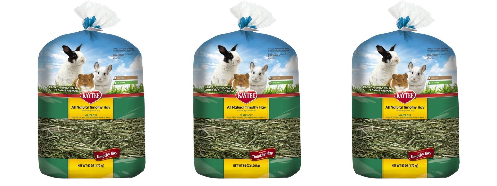 Kaytee All Natural lWvdja Timothy Wafer-Cut Hay for Rabbits & Small Animals, 3 Pack