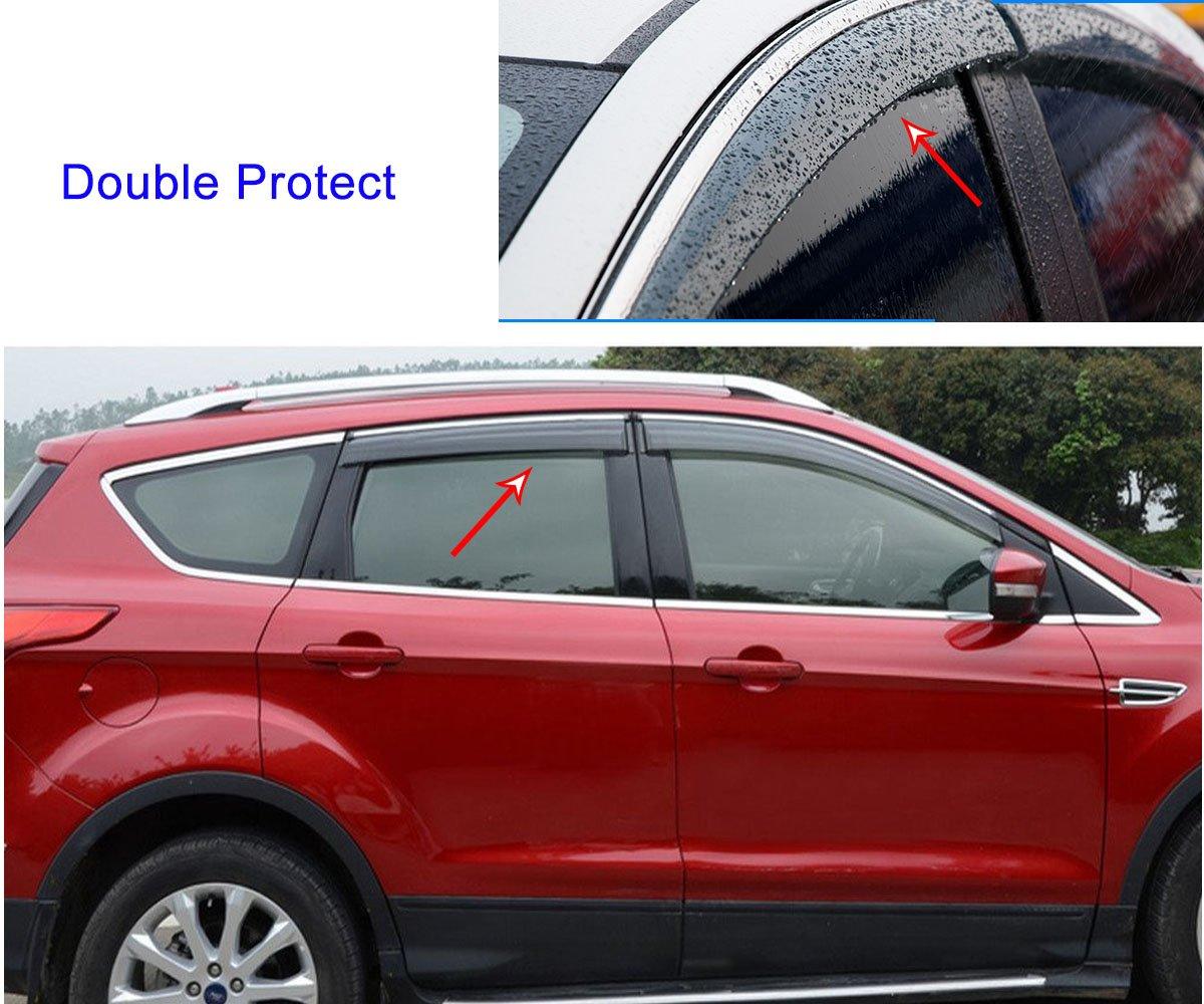 4pcs Tea Color Sun Guards Rain Guards Wind Guards Sun Shade For Car Window Vent Shade Wind Deflector Window with Chrome Trim Emblems Custom Fit For BMW X5 E70 2008 2009 2010 2011 2012 2013