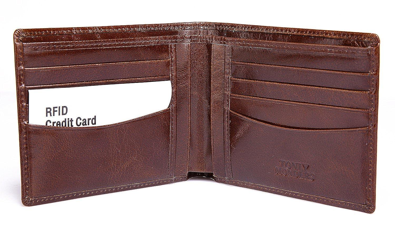 2cd1662b27 Tonly Monders RFID Blocking Men's Full Grain Leather Wallet Bifold Front  Pocket Card Holder