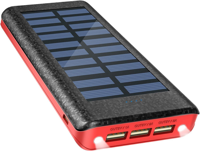 Batería Externa Power Bank 24000mAh , Cargador Solar de OLEBR con puerto de alta velocidad, 2 LED ligeros, 3 puertos de carga USB de alta velocidad-Red: Amazon.es: Electrónica