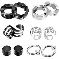 6 Pairs Unisex Stainless Steel Ear Clip Non Piercing Earrings Men Women Ear Cuff Ear Bone Clips Magnetic Cartilage Earring Cuff Studs Black+ Silver