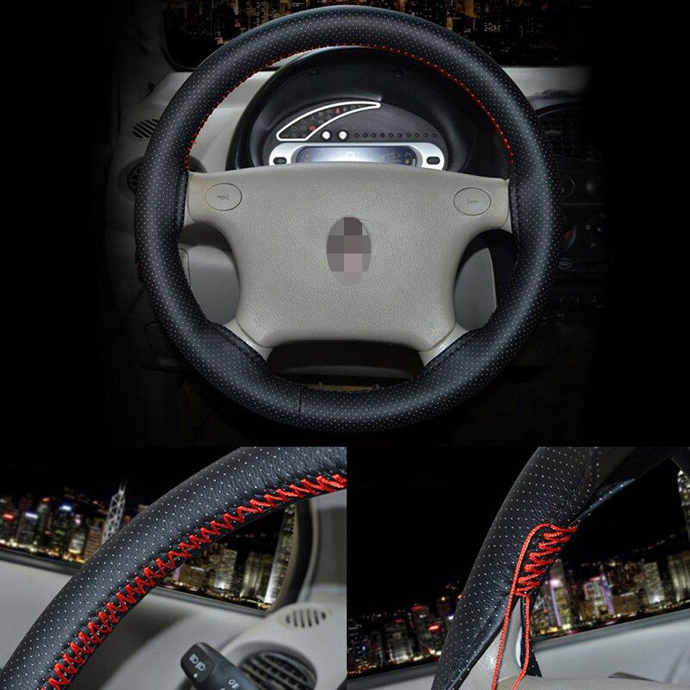 szss-car Universal piel de microfibra Auto Car Steering Wheel Cover antideslizante en color negro y con hilo de aguja de punto de 15