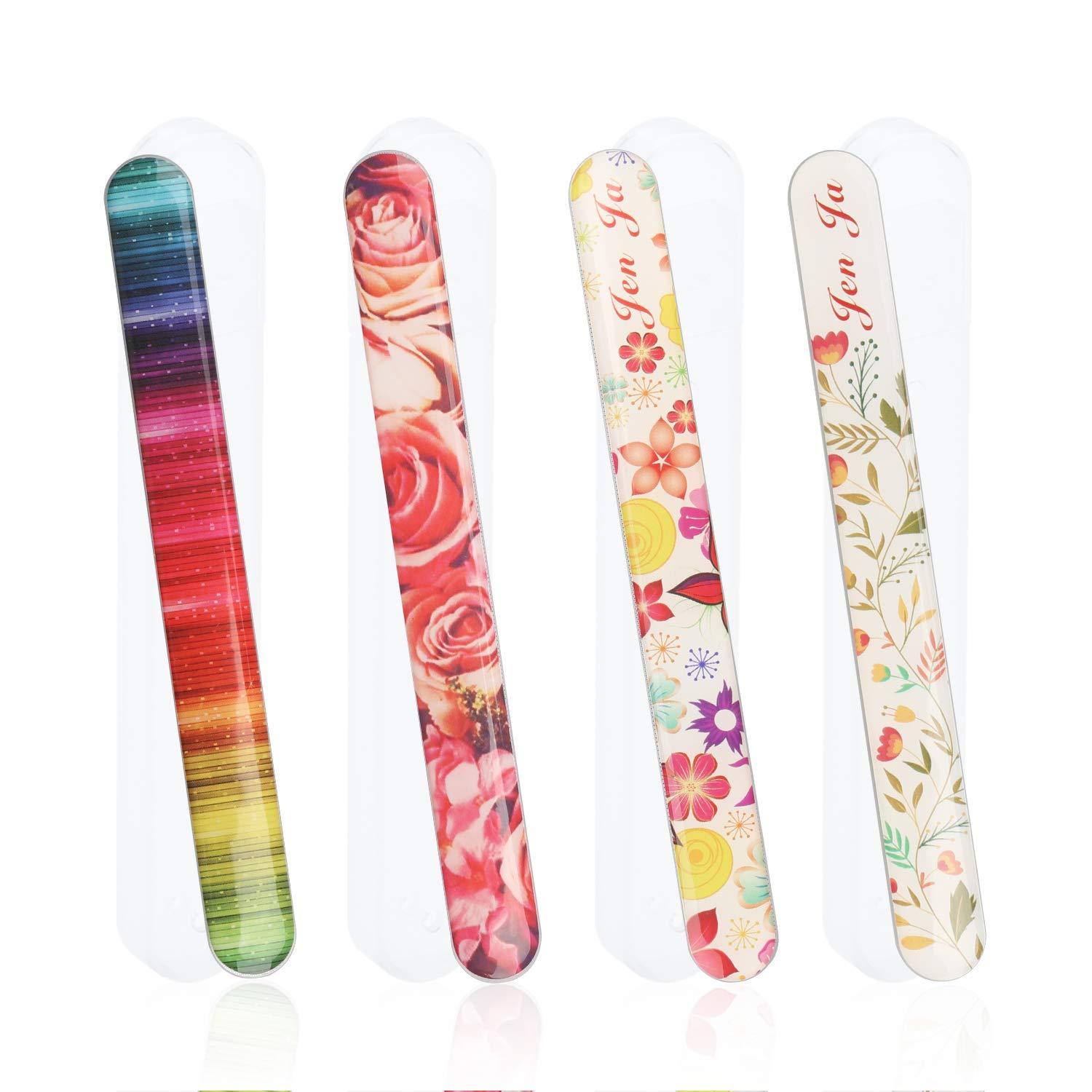 Senignol 4 Pieces Nano Glass Nail Shiner Kit, Crystal Rainbow Flowers Nail Shine Buffers Polisher, Professional Manicure Glass Nail Files with Protective Case for Salon &Home Natural Nail Art Use