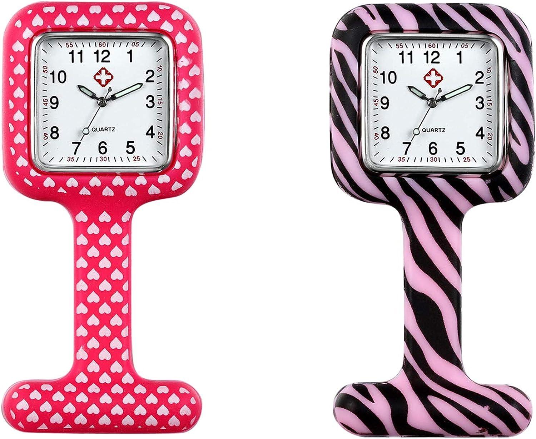 Avaner Reloj de Enfermera Silicona 6-10 Piezas Reloj Médico de Colores, Redondo Reloj Prendedor de Broche de Túnica de Paramédico Doctor, Reloj de Bolsillo,Regalo para Enfermera Médico Doctor