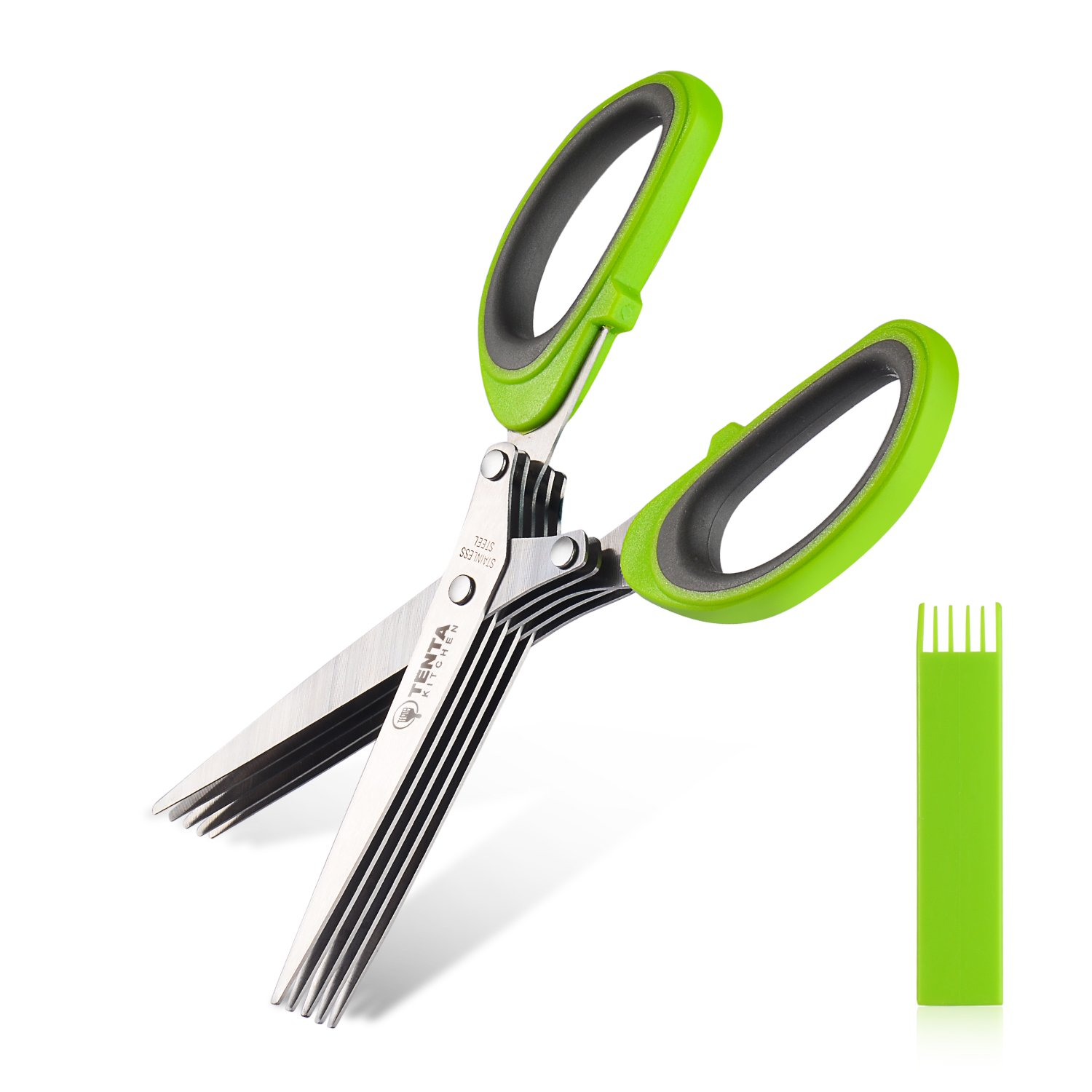Tenta Kitchen Durable 5 Blade Herb Scissors with Cleaning Comb Cover| Time-saving Kitchen Shears Chop Herbs Fast | -Strong Plastic Lined with Silicone Handle -For Your Kitchen or Garden (N0.1 TENTA7 T039