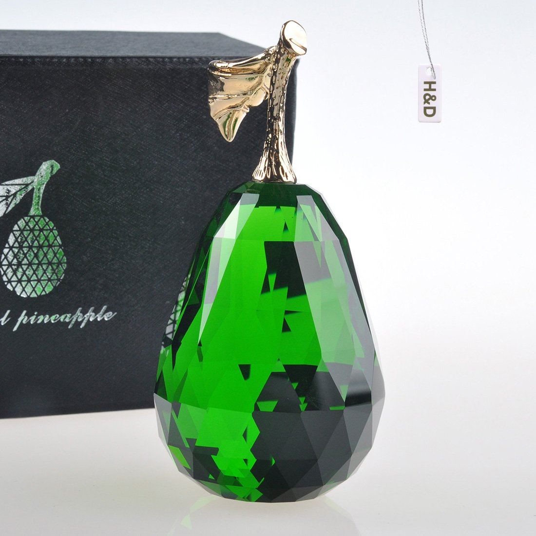 Green H/&D Crystal Glass Pear Paperweight Fengshui Craft Decoration Ornaments with Gift Box