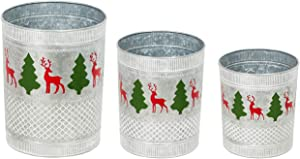 Evergreen Garden Beautiful Seasonal Deer and Trees Patterned Metal Planters, Set of 3-12 x 12 x 15 Inches Fade and Weather Resistant Indoor/Outdoor Decoration for Homes, Yards and Gardens
