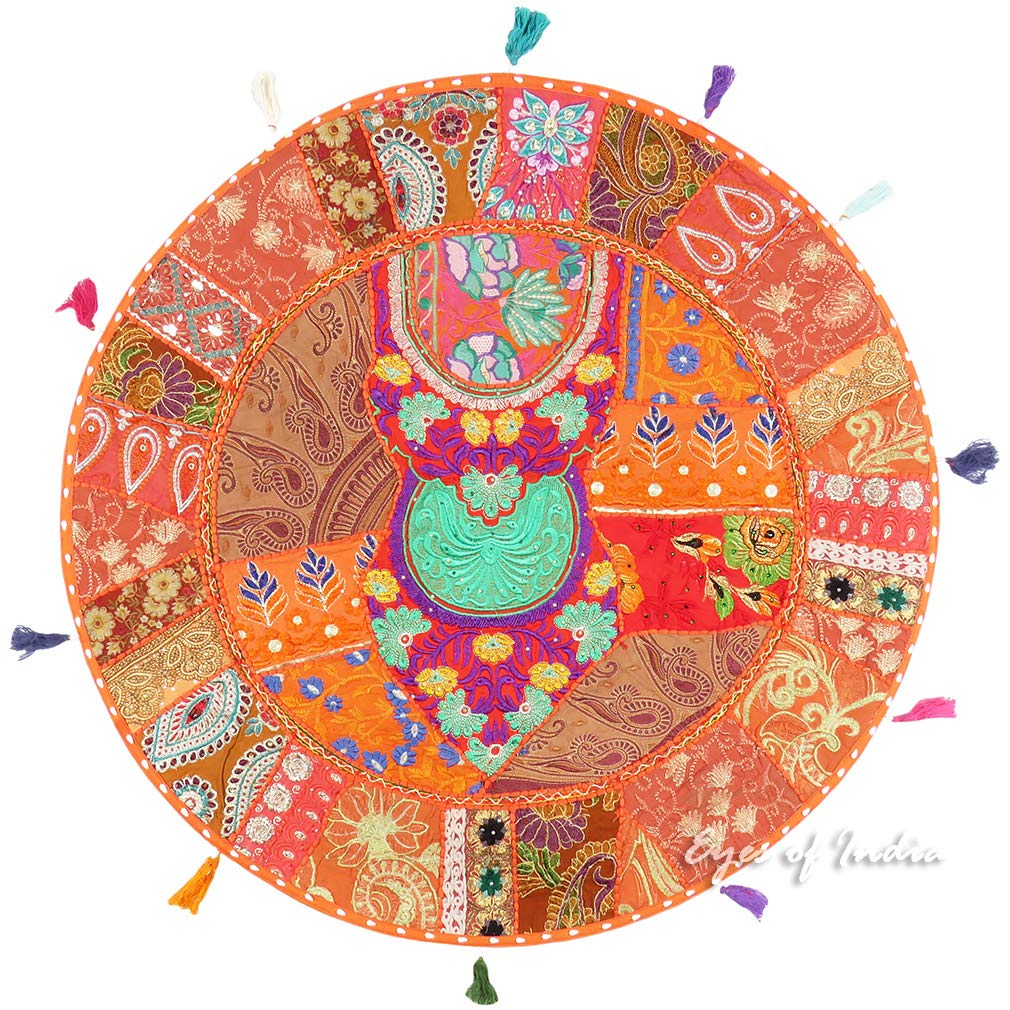 Eyes of India - 32  Grande Arancione rossoondo Coloreato Pavimento Decorativo Federa Copricuscino Meditazione Seduta Copriletto Bohémien Boho Indiano Copertura - Arancione  60