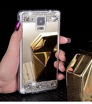 Funda Samsung Galaxy Note 4, Carcasa Caso Samsung Galaxy Note4, JAWSEU Samsung Galaxy Note 4 Carcasa Caso Cover Lujo Moda Espejo Brillante Crystal ...