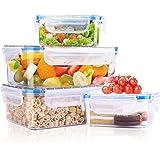 Soledì Contenitori Plastica Alimenti Cucina Ermetici Trasparenti Lunchbox Materiale Tritan Senza BPA per Microonde Frigo 4 Pezzi(1.2L*2+380ml*2)