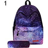 Xuendao 2Pcs/Set Fashion Women Starry Sky Striped Canvas Backpack Schoolbag Pencil Bag Travel Backpacks Men School Laptop Water Resistant Computer Durable College Boys Girls Outdoor Camping