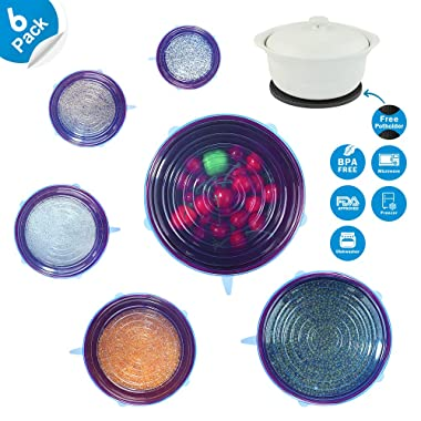 6 Packs Silicone Stretch Lids, SiFREE Various Sizes Silicone Bowl Covers Reusable with 1 Free Gift Potholder for Keeping Food Fresh, Dishwasher and Freezer Safe