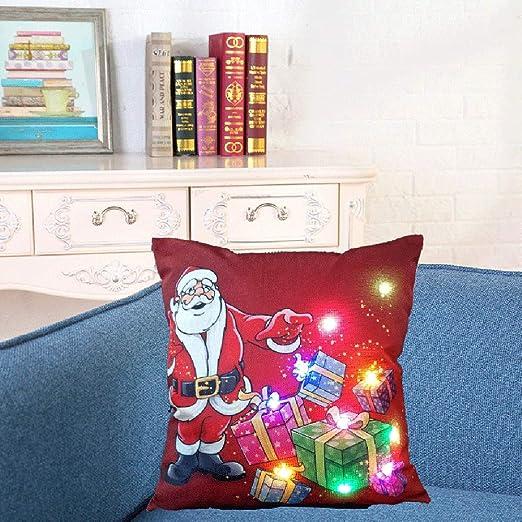 Weehey 18 * 18 Pulgadas Lino Colorido LED Luz Feliz Navidad ...