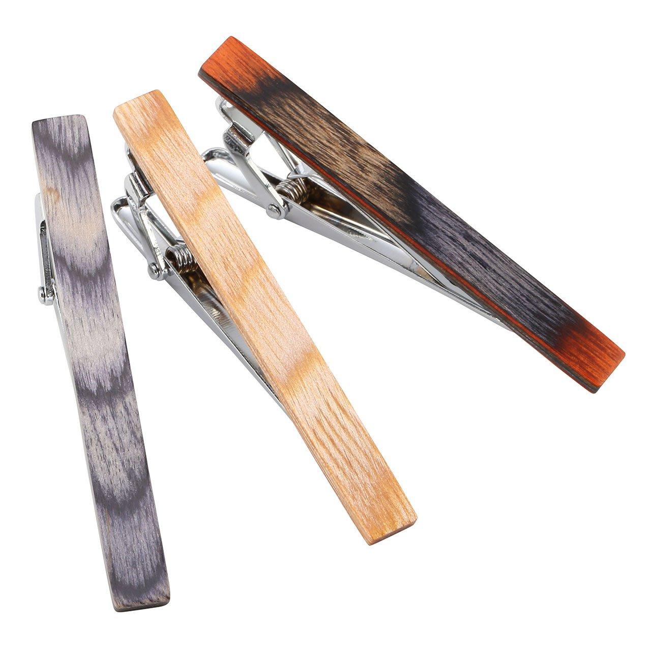 with Gift Box Jovivi 1-8pcs Metal Fashion Exquisite Mens Wood Tie Bar Clip Necktie Bar Clasp Set