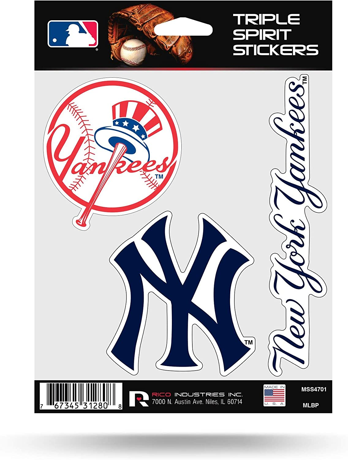 Rico MLB Yankees Triple Spirit Stickers, Multi, One Size (MSS4701)