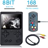 weikin Handheld Game Console, 168 Classic Games 3 Inch LCD Screen Portable Retro Video Game Console Support for Connecting TV and Two Players, Good Gifts for Kids and Adult