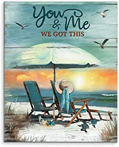 "DesDirect Store Turtle You & Me We Got This - Canvas Art Wall Decor 1.5in Frame - Landscape Wall Art Home 36"" x 24"""