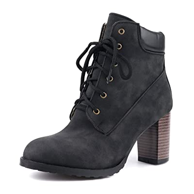 Amazon.com | 100FIXEO Women Block High Heel Lace Up Ankle Boots Round Toe Casual Booties | Ankle & Bootie