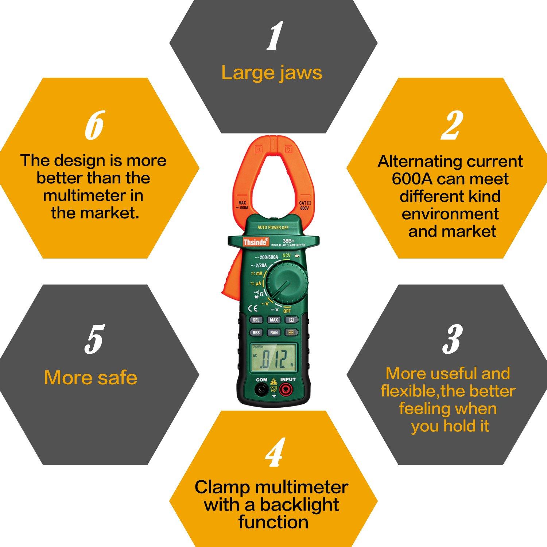 Auto Ranging Digital Clamp Meter Multimeters, voltmeter Multimeter Diode and Resistance Test Tester - - Amazon.com