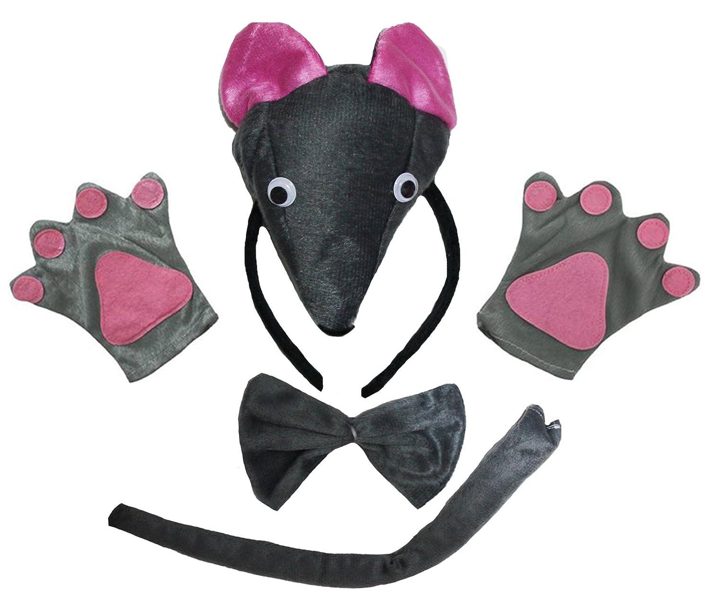petitebelle 3D Mouse Stirnband Schleife Schwanz Handschuhe 4Kinder Party Kostüm