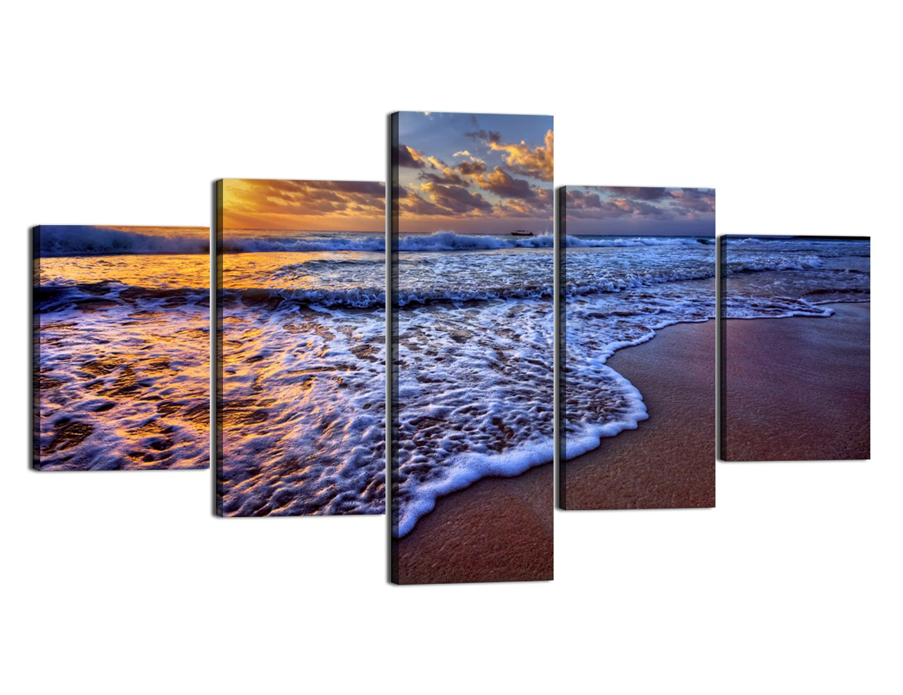 Ocean_19 Large Size Scene of Sea Waves Palm Tree Landscape Picture Modern Painting on Canvas 5 Piece Framed Wall Art for Living Room Bedroom Kitchen Home Decor Stretched Gallery Canvas Wrap Giclee Print (60''W x 32''H)