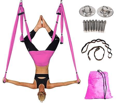 alice versatile aerial yoga swing kit yoga hammock set with adjustable handles and 2 extension straps amazon     alice versatile aerial yoga swing kit yoga hammock      rh   amazon