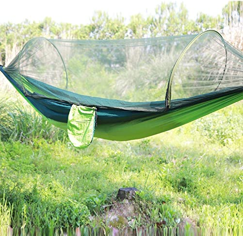 Garosa Double Camping Hammock Portable Parachute Nylon Hammock Travel Hanging Bed with Mosquito Net for Hiking Travel Backpacking Beach Yard Green