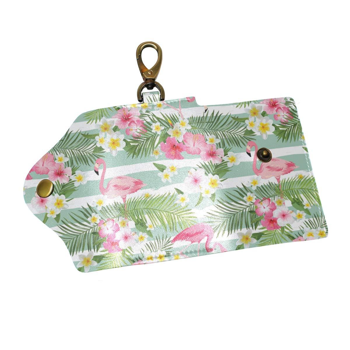 KEAKIA Tropical Flamingo Leather Key Case Wallets Tri-fold Key Holder Keychains with 6 Hooks 2 Slot Snap Closure for Men Women