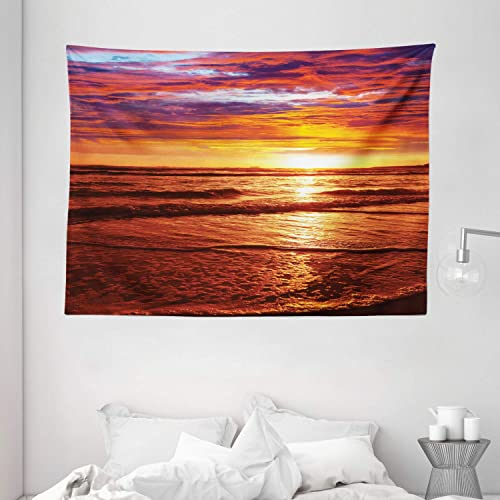 Ambesonne Hawaiian Tapestry, Dramatic Picture of Sunset Over Beach Sun Rays Reflection on Sea Evening View, Wide Wall Hanging for Bedroom Living Room Dorm, 80 X 60 , Orange Yellow