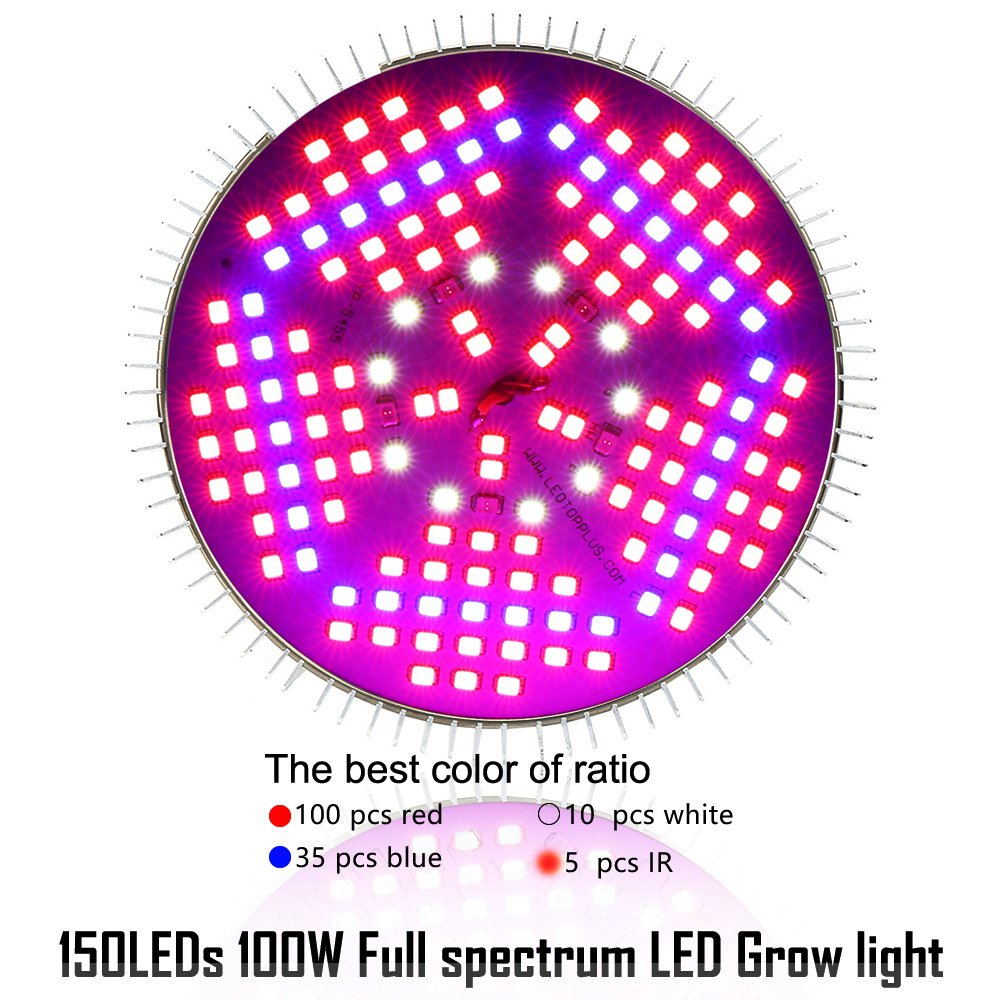 100W Led Plant Grow Light Bulb, Full Spectrum 150 LEDs Indoor Plants Growing Light Bulb Lamp for Vegetables Greenhouse and Hydroponic, E27 Base grow light Bulbs, AC 85~265V [2Pack] by EnerEco (Image #3)