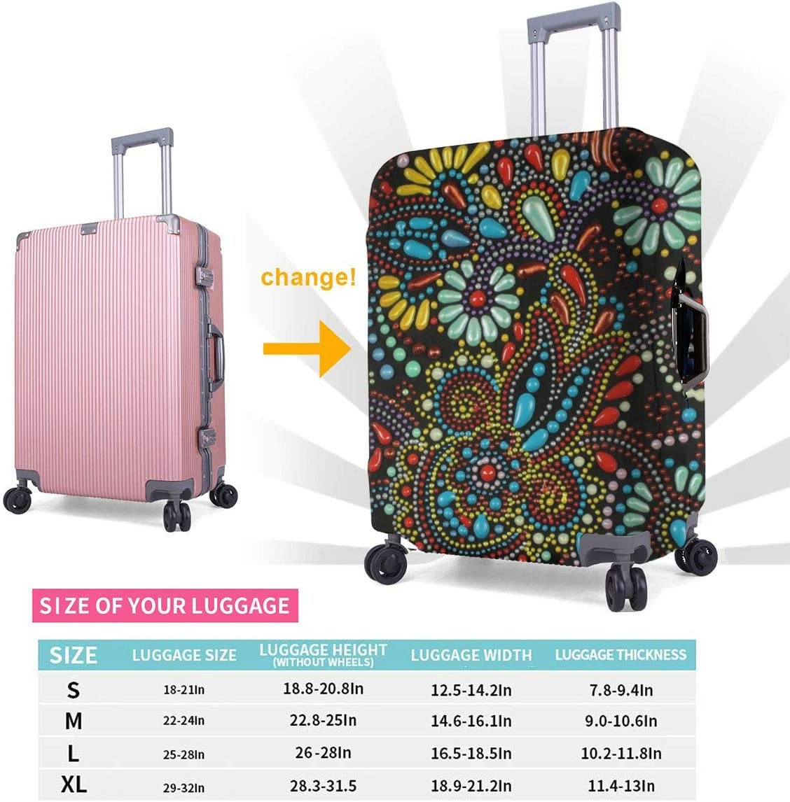 Beautiful Flower Floral Elastic Travel Luggage Cover,Double Print Fashion Washable Suitcase Protector Cover Fits 18-32inch Luggage