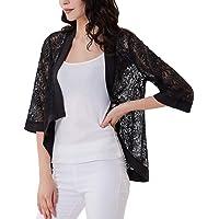 GRACE KARIN Women's Floral Lace Shrug Drape Open Front 3/4 Sleeve Bolero Cardigan