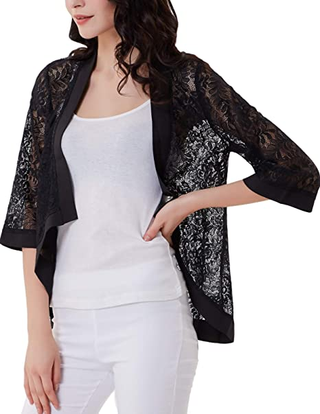 25da8904a GRACE KARIN Women's Lace Cardigan 3/4 Sleeve Dressy Shrug Summer ...