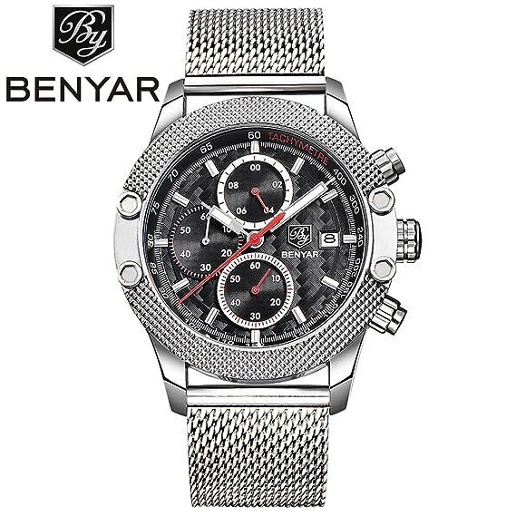 Nueva marca de lujo benyar deporte cronógrafo relojes hombres malla banda multifunción resistente al agua reloj de cuarzo Relogio Masculino: Amazon.es: ...