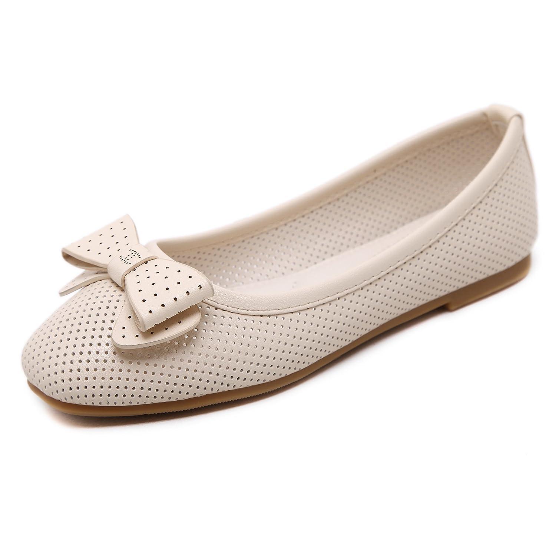 KPHY-Bow Tie Weich unten Frauen Schuhe ein Quadrat flache Schuhe Boden mit Boden Schuhe Sojabohnen und bequeme Schuhe mit der Damen Schuhe Apricot 8ec83b