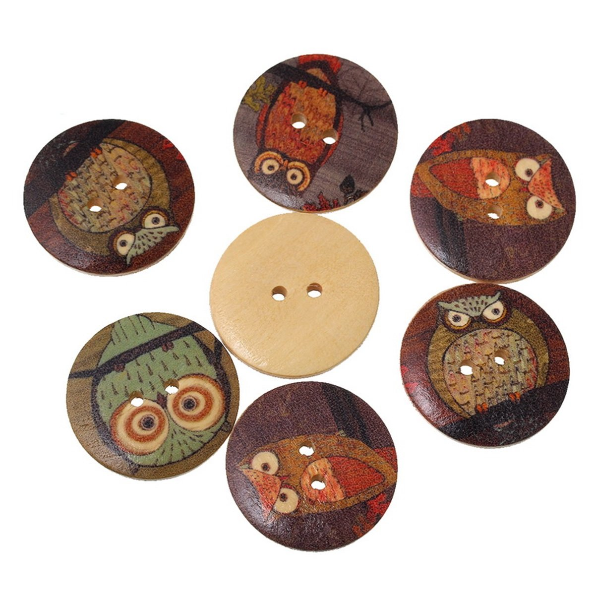 HooAMI Mixed Colours Owls Wooden Buttons for Sewing and Crafting, Pack of 50pcs ,3cm Terrific-Young LJ0AA01AZ
